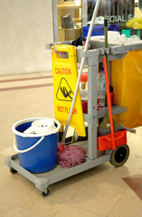 cleaning in progress in a shopping centre