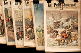 france, paris, bouquiniste:  old newspapers for sale poster
