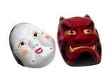 two japanese masks poster