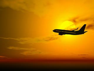 plane @ sunset