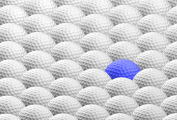 blue golf ball amongst many others