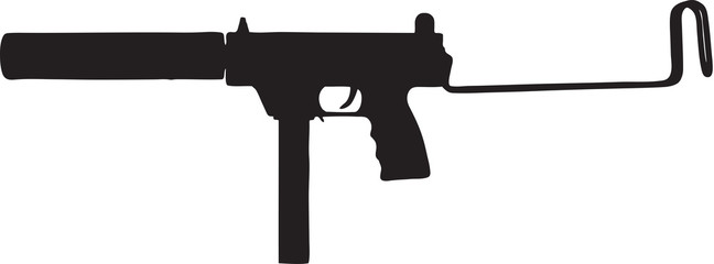 sub machine gun (uzi) clip art with clipping path