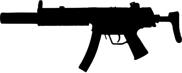 automatic weapon / gun illustration with clipping