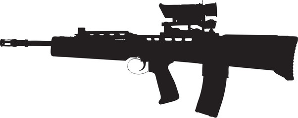 assault rifle illustration with clipping path