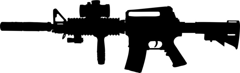 military assault rifle illustration with clipping