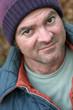 homeless man - closeup portrait
