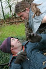 homeless man - confrontation