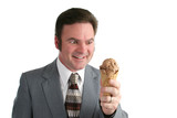 businessman crazy for ice cream poster