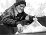 homeless man - roots in dumpster b&w poster