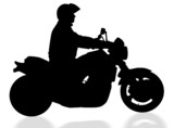 isolated biker with clipping path poster