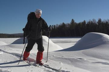 skier and snow-drifts