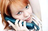 young  girl talk to phone poster