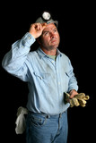coal miner - looking up poster