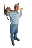 miner with pickax full length poster