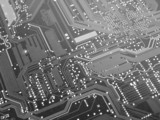 black and white computer circuit board poster