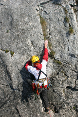 female climber in route