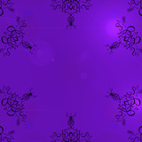 purple background frame with scrolls poster
