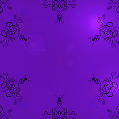 purple background frame with scrolls