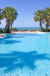 swimming pool in spanish hotel with sea views and palm trees