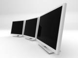 three 3d monitors poster