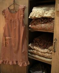 dress hanging on wardrobe