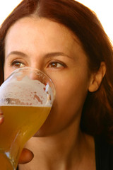 the girl drinking beer