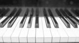piano keyboard in monochrome poster