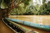 malaysia, borneo, sarawak: boat in the jungle poster