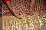 malaysia, borneo, sarawak: straw weaving poster
