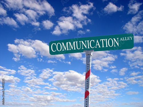 "sign that reads ""communication alley"""