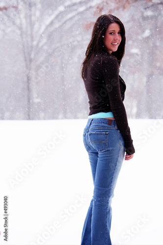 pretty woman in snowstorm
