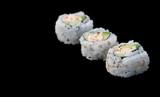 sushi diagonal on black poster