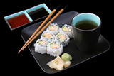 sushi meal on black poster