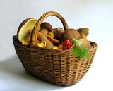 basket full of mushrooms and berries poster