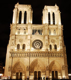 france, paris: notre dame at night poster