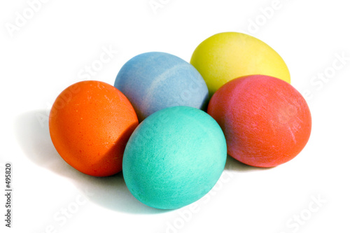 poster of five colored eggs