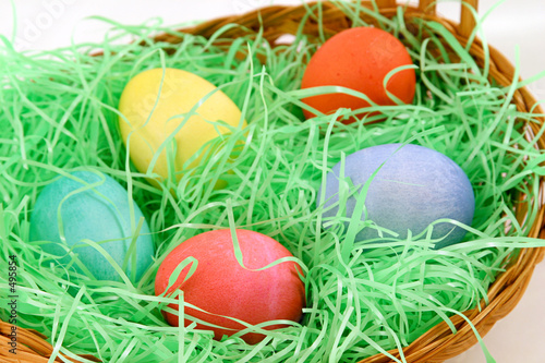 poster of five eggs in basket