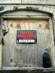 """""""private property - no trespassing"""" sign"""