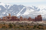 arches landscape with mountains poster