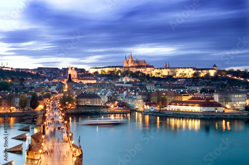 Canvas Praag prague castle cityscape