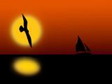 gull flying poster