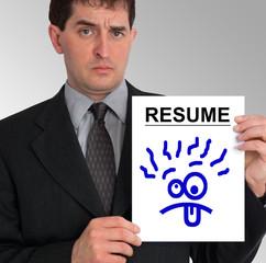 businessman side presentation (resume - silly face)