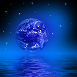 earth globe stars reflecting in water poster
