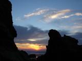 rocky  sunset. poster