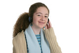 cute teen with headphones poster