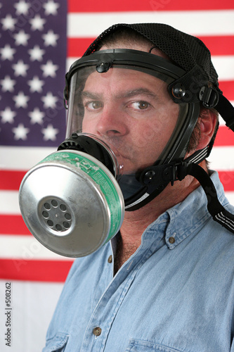 american gas mask vertical Poster