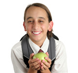 adorable school boy with apple poster