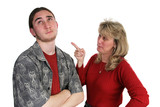 mother scolding son poster