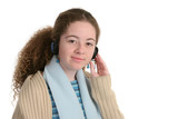 teen with headphones poster