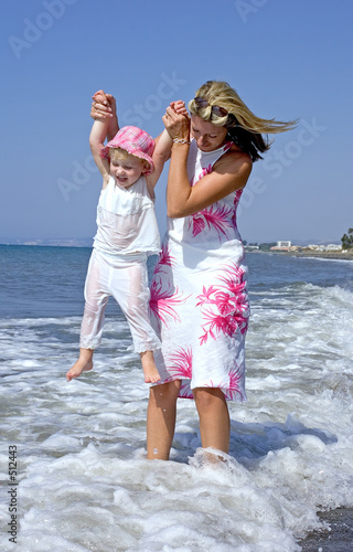 young mother and daughter playing in the sea
